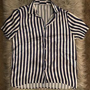 Zara Mens Silk Short Sleeve Button Down Size M